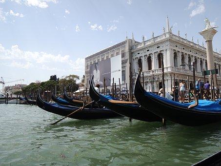 Venice, Taly, Gondola, Water, San Marco, Boating