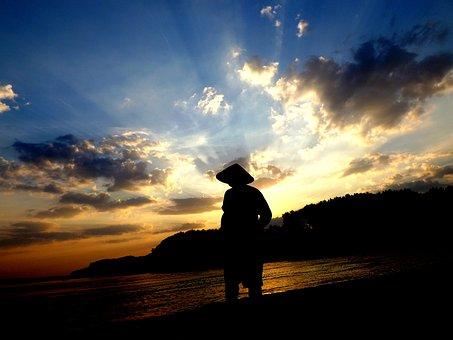 Sunset, Fisherman, Water, Reflection, Sun, Twilight