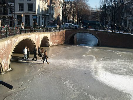 Amsterdam, Canal, Winter, Ice, Canals, Frozen