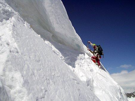 Mountaineering, Bergschrund, Winter, Snow, Alpinism
