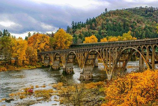 Bridge, Fall, River, Leaves, Autumn, Fall Trees, Yellow
