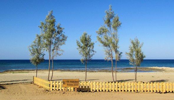 Cyprus, Ayia Triada, Beach, Trees, Fence, Scenic