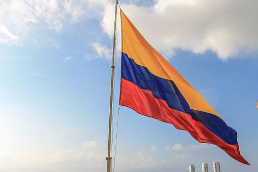 Colombian Flag, Sky, Colombia, Sunset, Clouds, Flag