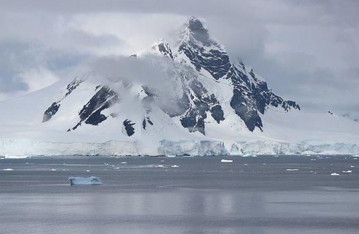 Antarctica, Sea, Landscape, Floating Chunks, Clouds