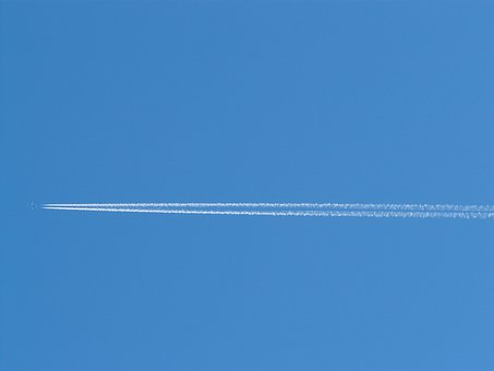 Aircraft, Contrail, Stripes, Sky, Blue, Fly, Travel