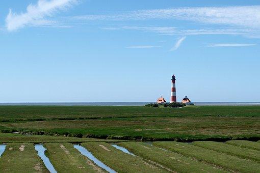 Lighthouse, Westerheversand, North Sea, Sea, Landscape