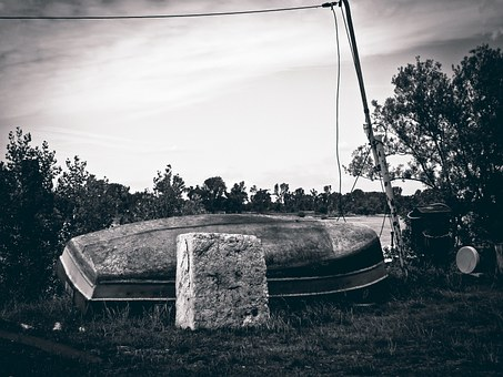 Boot, Bank, Mood, Landscape, Rowing Boat, Old