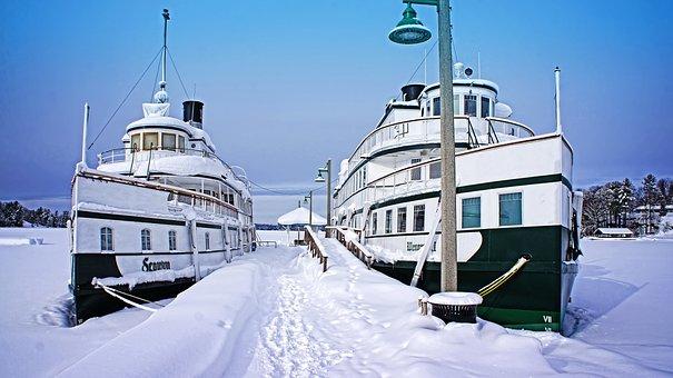 Ontario, Canada, Muskoka, Winter, Ships, Lake, Ice