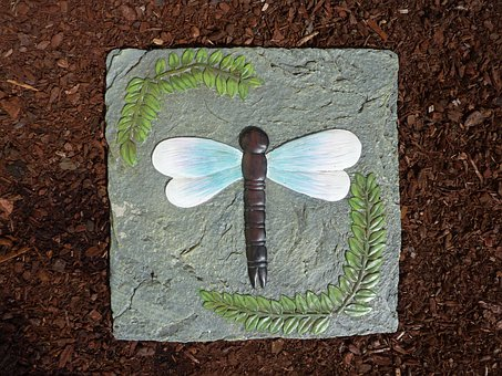 Stone, Tile, Dragonfly, Insect, Nature, Wings, Step