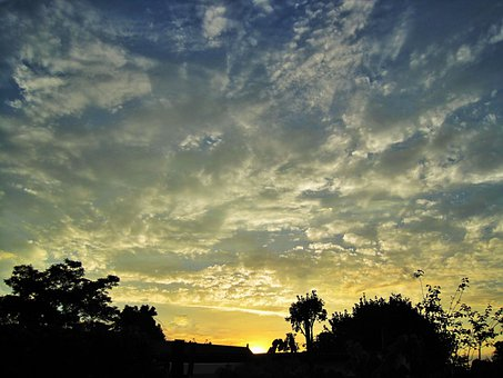 Sky, Sunset, Glow, Clouds, Spread, White, Golden