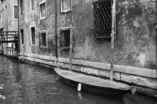 Venezia, Vintage, Venice, Boatchanal, Black And White