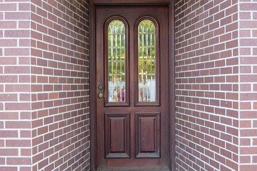 Wood Door, Bricks, Door Way, Entrance, Architecture
