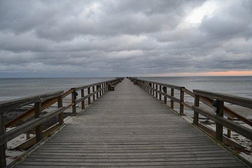 Pier, Clouds, Sea, Sky, Sweden, Wooden, Horizon, Sunset