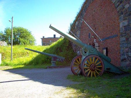 Old, Coastal Guns, Museum, Guns, Summer Sunshine