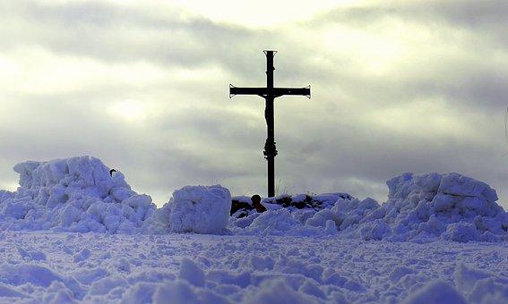 Cruz, Christ, Snow, Religion, Satins Peguera, Mountain