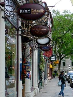 Shopping Street, Quebec City, Quebec, Canada, French
