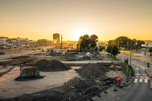 City, Morning, Construction, Sunrise, Urban