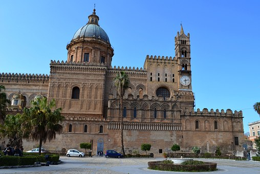 Palermo, Sicily, Cathedral, Church, Downtown, Monument