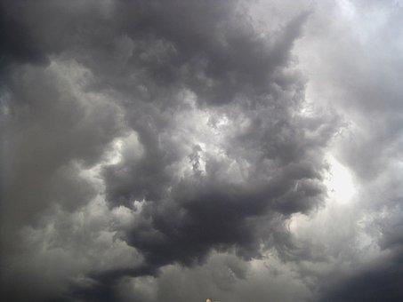 Clouds, Irregular Shapes, White, Light, Dark, Grey