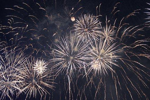 Fireworks, Golden Fireworks, Sky, Night
