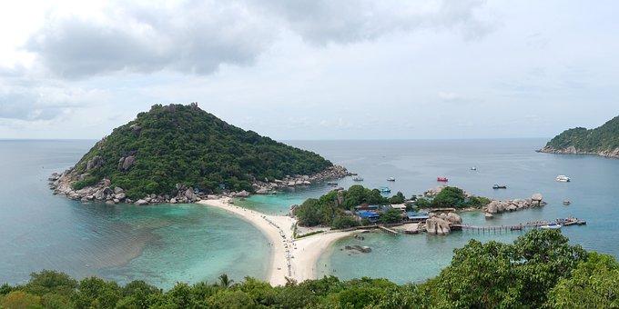 Ko Nangyuan, Island, Sea, Water, Horizon, Beach, Sand