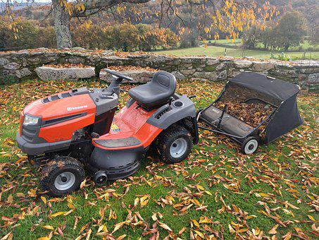 Tractor, Lawn Mower, Picks Up Leaves