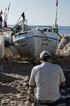 Portugal, Monte Gordo, Fisherman, European, Sea, Boat