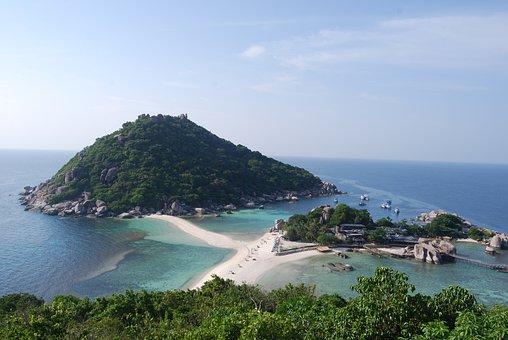 Thailand, Nangyuan Island, Island, Sea, Beach