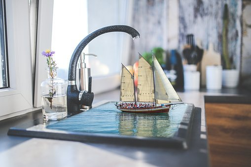Manipulation, Photoshop, Kitchen, Faucet, Water, Boat