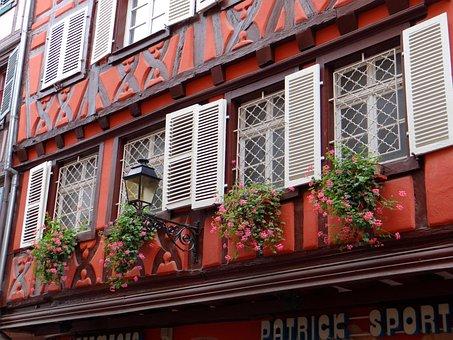 Fachwerkhaus, Picturesque, Red, White, Brown, Shutters