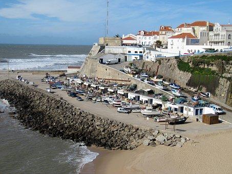 Ericeira, Portugal, Port, Coast, Ship, Boot, Sea, Fish