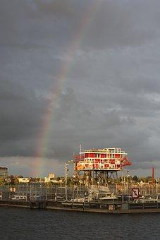 Rainbow, Port, Amsterdam, Clouds, Heaven, Air, For Rain