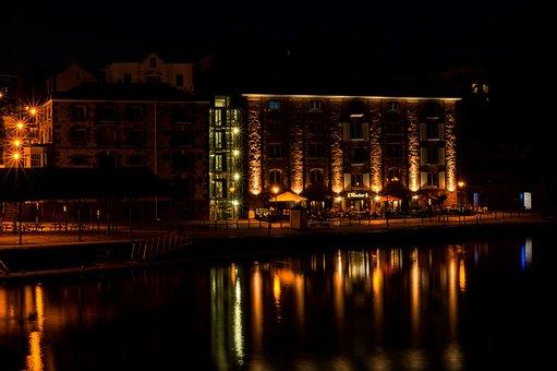 Building, Restaurant, Patio, Lake, Water, Night, Dark
