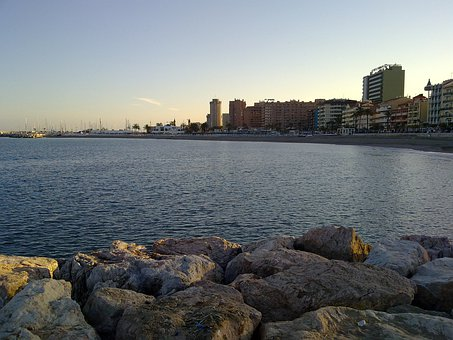 Rock, Port, Fuengirola, Water, Sea, Sunset, Sky, Sun