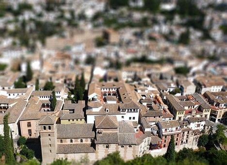 Granada, Tilt-shift, The Old Town, City, Monuments