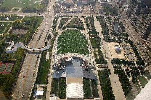 Millenium Park, Chicago, Lurie Garden, View