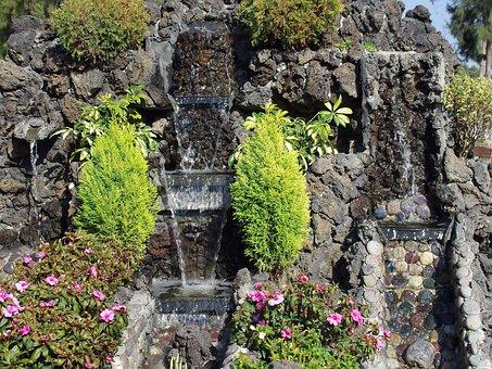 Mexico, Fountain, Washbasin, Cascade, Garden, Water