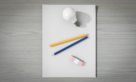 Idea, Empty, Paper, Pen, Light Bulb, No, Creativity