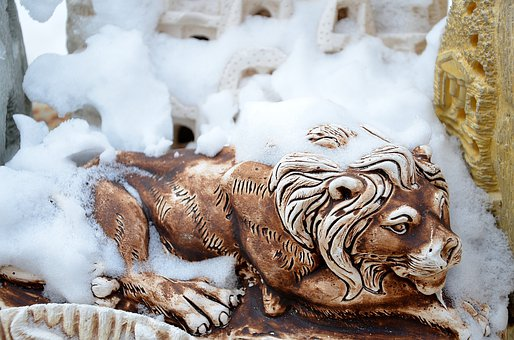 Lion, Safari, Lioness, Africa, Botswana, Snow, Staty