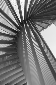 Stairs, Spiral Staircase, Light, Shadow, Grid