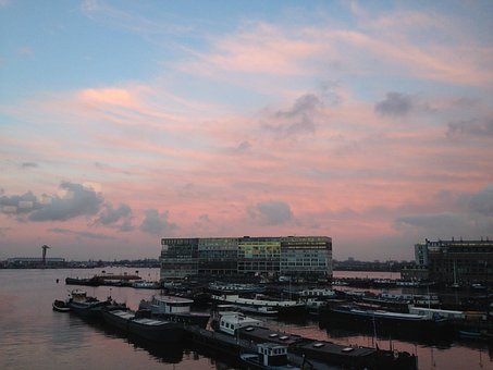Amsterdam, The Ij, Sunset