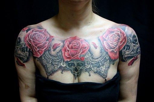 Tattoo, Rose, Rod, Blo, Skull, Breast