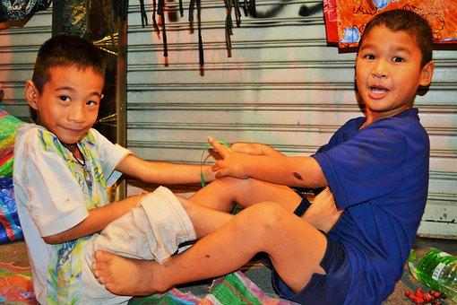 Children, Kids, Street, Bangkok, Thailand, Childhood
