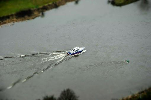 Boat, Water, River, Elbe, Yacht, Tiltshift