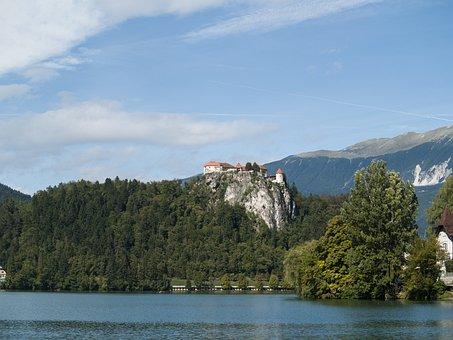 Bled, Castle, Slovenia, Forest, Lake, Europe