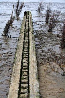 Breakwater, Plank, Watts, North Sea, Wadden Sea, Beach