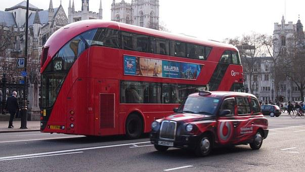London, England, Westminster, Bus, Taxi