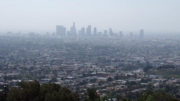 Los Angeles, City, Cityscape, California, Mist