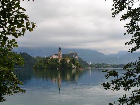 Lake, Church, Castle, Bled, Slovenia