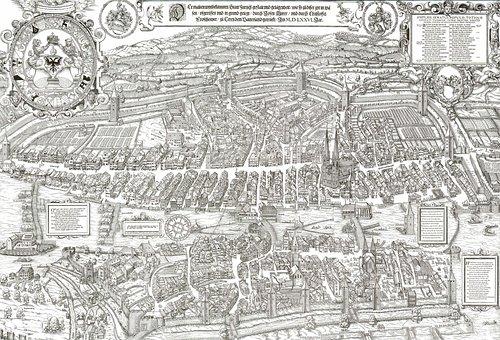 Woodcut, City, Map, Zurich, Murerplan, Switzerland